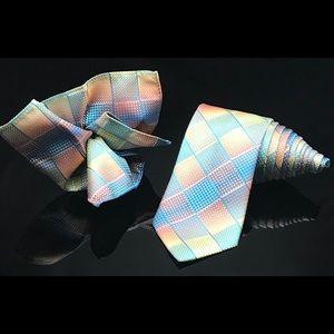 Pierre Cardin Mens Rainbow 🌈 Tie and Pocket